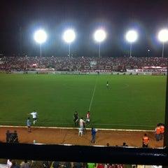 Photo taken at Estádio Municipal José Nazareno do Nascimento (Nazarenão) by Wesley R. on 6/9/2012