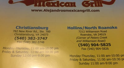 Photo of Mexican Restaurant Alejandro's Mexican Grill at 1304 W Main St, Salem, VA 24153, United States