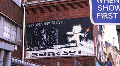 Photo of Street Art Banksy's 'Mild Mild West' at Cheltenham Road, Bristol, United Kingdom