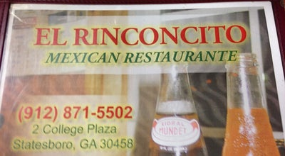 Photo of Mexican Restaurant El Rinconcito at 2 College Plz, Statesboro, GA 30458, United States