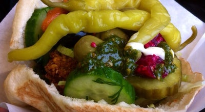 Photo of Falafel Restaurant Maoz Vegetarian at Muntplein 1, Amsterdam 1017 CK, Netherlands