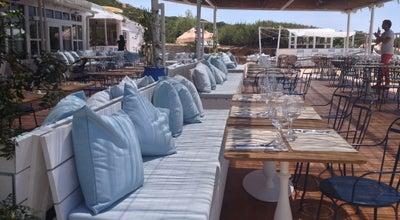Photo of Seafood Restaurant Experimental Beach at Cap D'es Falco at Playa Des Codolar Salinas, Ibiza, Spain