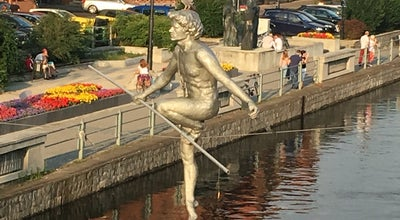 Photo of Historic Site Man Crossing the River at Mostowa Street, Bydgoszcz, Poland