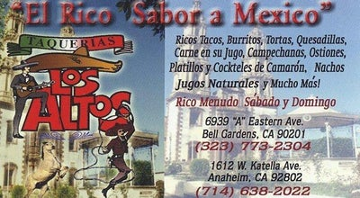 Photo of Mexican Restaurant Taqueria Los Altos at 6939 Eastern Ave, Bell, CA 90201, United States