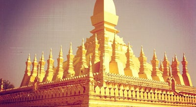 Photo of Buddhist Temple Pha That Luang at Laos National Symbol, Vientiane, Laos