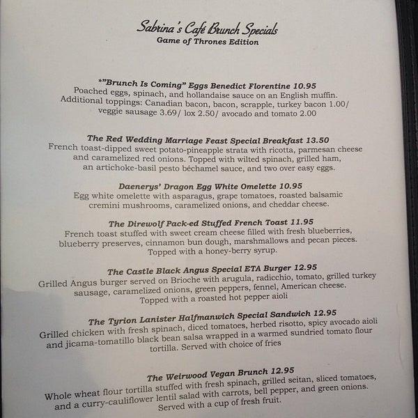 Sabrina S Cafe Wynnewood Dinner Menu