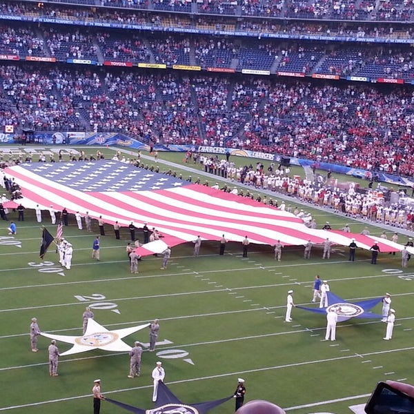 Photo taken at Qualcomm Stadium by Steven F. on 8/30/2013