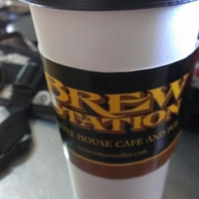 Photo taken at Brew Station Coffee House, Cafe, and Pub by Jon W. on 9/25/2012