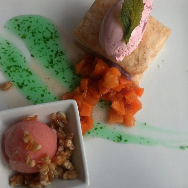 A New Take On A Classic! The Blueberry Cheesecake is fresh and original!  (Strawberry Mousse, Fresh Mint Sauce, Cheesecake, Peach Compote/Mint Leaf/Vanilla Bean Phyllo, Watermelon Sorbet & Pine Nuts).