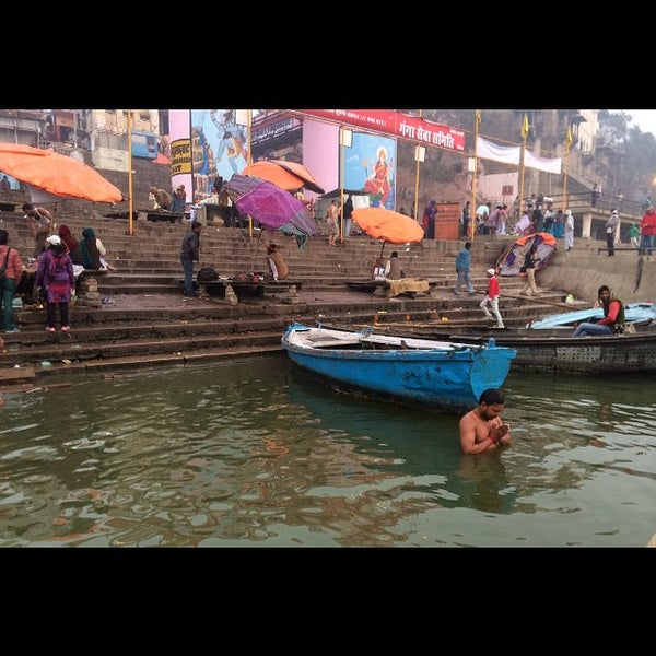 Photo taken at Dasaswamedh Ghat by Mark V. on 1/25/2015