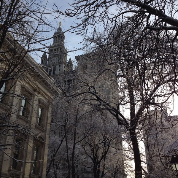 Photo taken at City Hall Park by Linz S. on 2/4/2014