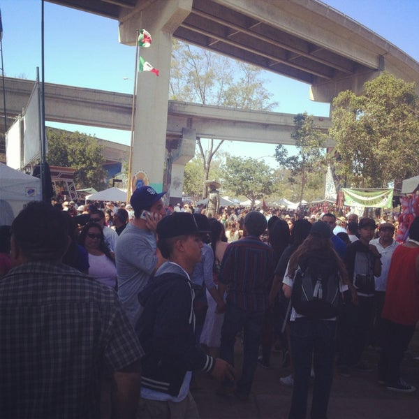 At Chicano Park, under the bridge.