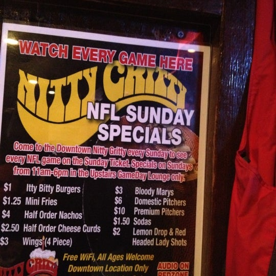 Sit upstairs on Sundays to watch football and they have cheap bloody Mary's, pitchers, and food.