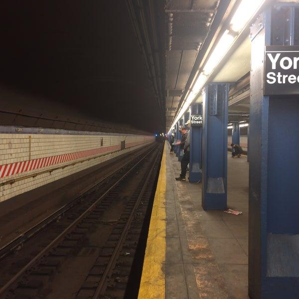 Photo taken at MTA Subway - York St (F) by Tony T. on 2/6/2016