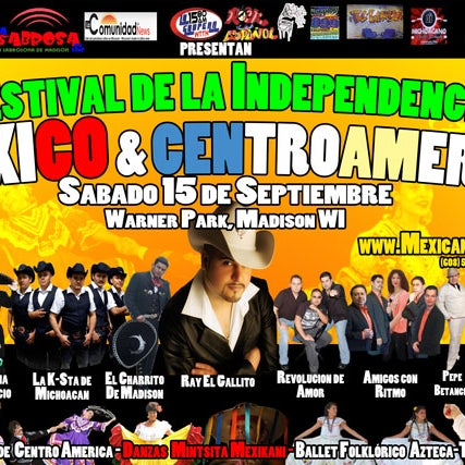 Check the 8th Mexican and Centroamerican Independence Festival on 9/15/2012 from noon to 9. Music, Folk and Aztec dances, historic exhibit, ethnic food, children activities, craft vendors, music  ...