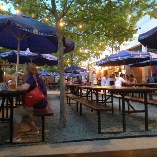 Photo taken at Zeppelin Hall Biergarten by Maksim A. on 7/16/2012