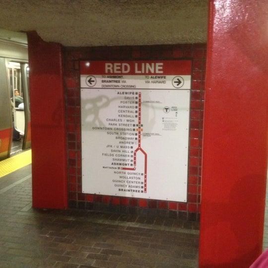 Mbta Red Line Metro Station In Boston