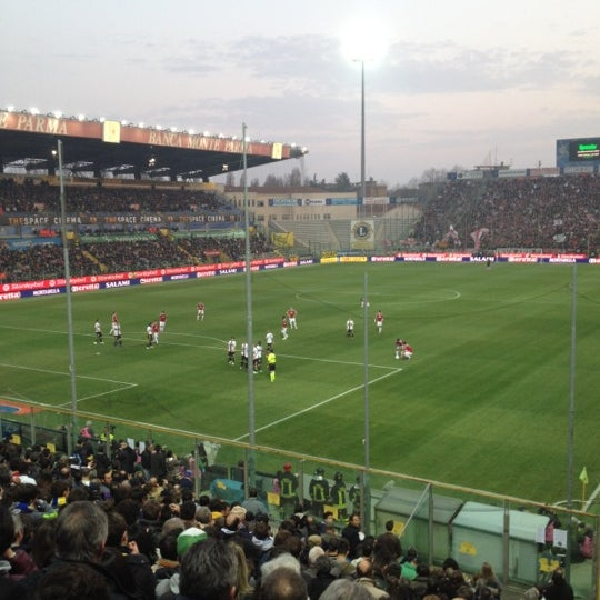 Photo taken at Stadio Ennio Tardini by Roberto I. on 3/17/2012