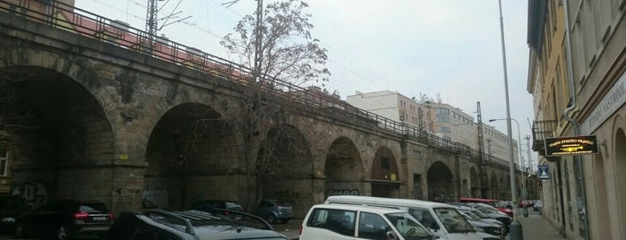 Negrelliho viadukt is one of Pražské mosty.