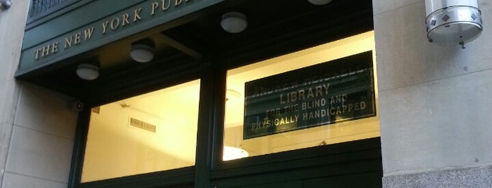 New York Public Library - Andrew Heiskell Braille & Talking Book Library is one of B. Locations.