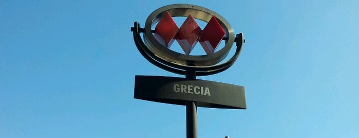 Metro Grecia is one of Metro de Santiago L4.