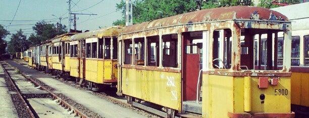 Angyalföld kocsiszín (12, 14) is one of Pesti villamosmegállók.