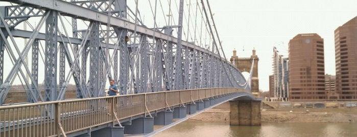 John A. Roebling Suspension Bridge is one of Surviving Historic Buildings in Cincinnati.